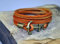 Handmade Charm 3-Wrap Yellow  Genuine Leather&Hemp Braided Bracelet Wristband Men's Cuff  With Multi Wrap Anchor Clasp