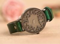 2014 new Casual watch Vintage design Solid digit quartz watch Women Men ladies Top quality dress watch  Free shipping