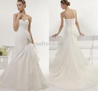 Wholesale - New Elegant Sweetheart Beads Mermaid Court Train Organza Wedding Dresses Bridal Gowns White Ivory Hot Sale Customed