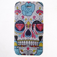 Rose Flowers Skull Special Grains Design for Russia PU Leather  Case for iPhone 4 4s free shipping