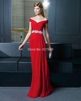 Elegant Chiffon V-neck Off Shoulder Red Formal Evening Dress Gowns Brides Wedding Party Dress Custom Made