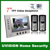2014 new 7 inch TFT Monitor LCD Color Video Record Door Phone DoorBell Intercom System with 2pcs 750THL IR camera free shipping