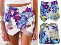 Summer Asymmetric Flower Print Hot Pants Women Brand Pom Short Skirt Shorts 2014 Fashion Girl  Flower pants skorts 655583