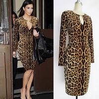 Leopard metal decoration blending deep V-neck long-sleeved bodycon mini dress free shipping high quality