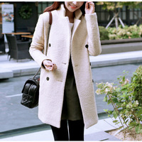 2014 new fashion women winter long slim coat jacket warm woolen female out door cape coat fur casual Turtleneck jacket