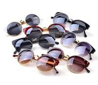 New fashion 2014 Cat Eye Vintage Sunglasses Women Top   Summer Retro Round Sun Glasses Metal Cat Eye Oculos Casual Shades Y04