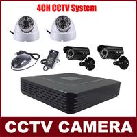 4 Cameras Color Video Surveillance System CMOS 700TVL IR Camera Kit CCTV 4CH Full D1 P2P HDMI H. 264 Mini DVR Security System
