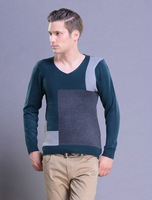 New 2014 Autumn New Men's sweaters Fashion Casual Urban Pullover sweaters V-neck Mixed Colors Men's Slim Thin sweaters Knitted