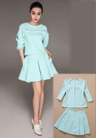 2014 new women fashion BIG brand style Light Blue  winter autumn o-neck long sleeve dress casual dresses plus size