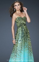 New Arrival Blue Animal Print Chiffon Long Prom Dresses Sweetheart Floor Length Evening Dress 2014 Hot Sale