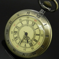 Hot Roman Vintage Copper Number Dial Pocket Quartz Watch Necklace Pendant Men Gift P59