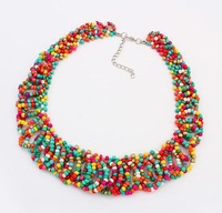 Min. order is $10(mix) statement bohemian necklace for women 2014 jewellery fashion chunky bead necklaces & pendants wholesale