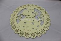 whole sales,laser chrismas felt placemat/table mat / angel pettern dia 30cm