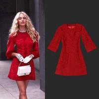 Hot High Quality New Women's Embroidery Lace Woolen Dress Plus Size Red Dress Three Quarter Sleeve Elegant Slim Formal Dress 3XL