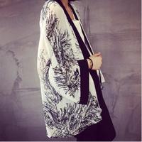 Free shipping!2014 new arrived Small kimono vintage flower print loose chiffon shirt sunscreen fresh vintage outerwear