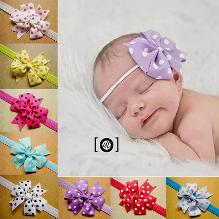 2014 wholesale newborn headbands baby boutique hair bows print bows elastic headbands Children's hair accessories 10pcs/lot(China (Mainland))
