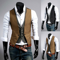 2014 Autumn Men New Basic Casual Suit Vest Faux Two Piece Waistcoat Men Brand Quality Tank Tops Plus Size