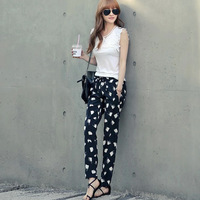 Small fresh casual street punk women's polka dot print Camouflage handsome casual harem pants