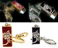 Free shipping crystal pen drive flower rectangle keychain model USB flash drive 2.0 Pen memory U disk 4GB 8GB 16GB 32GB