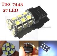 2pcs car light  WY21W W21/5W 7443 T20 27SMD 5050 LED 360 lighting 2 colors to choose car brake , stop , rear lights