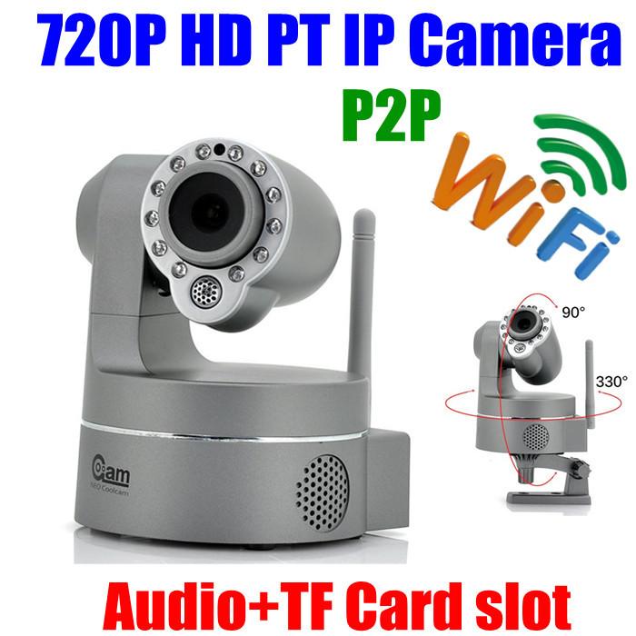 Pan Tilt Mini 1MP IR Home security IP Camera 720P HD Wireless WIFI ip Camera two way audio sd Card slot Plug play Free shipping(China (Mainland))