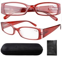 Eyekepper R040 Spring Hinge Plastic Reading Glasses With Case/Cleaning Cloth Red Sun Readers +1.00--+4.00