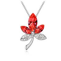 Austria crystal pendant leaves short design women's accessories colorful -