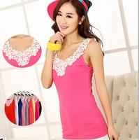 2014 flowers Daisy hollow out ms condole belt vest vest cotton women fashion tops G106
