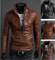 2014 Autumn Winter Men's Faux Leather Jacket Slim Satnd Collar PU Leather  Motocycle Jacket 3 Color 4 Size