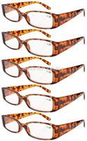 Eyekepper Spring Hinge Plastic Reading Glasses (5 Pairs), Includes Sunglass Readers Demi-5pcs  +1.00--+4.00