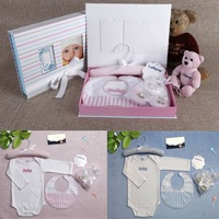 New! 5 Pieces NewBorn Baby Gift Set with Baby Shoes, Bib, Hanger,   Infant Clothes Baby Jumpsuit Baby Bodysuits Free Shipping