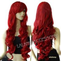 Hot Sale 1 Pcs Heat Resistant Bang Long legends Cosplay Wigs High-quality Ladies' Dark Red Wavy Curly Peluca Wings 80cm ay300337