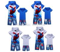 2014 New children clothing sets boys hoodies+jeans pants baby boys cartoon Spiderman Children suits pants 6 sizes/lot