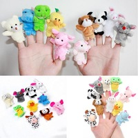 1Set/10Pcs Free Shipping Funny Finger Animal Puppets Play Game Baby Kid Learn Story Toy Dolls Velvet Gift