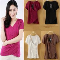 2014 summer street female T-shirt women's cotton short sleeve T-shirt of v-neck t-shirts ms render unlined upper garment G108