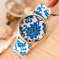Hot Sell 2014 New Fashion Ethnic Chinese Flower Dress Watch GENEVA Watch PU Leather Analog Quartz Casual Watch Women Wristwatch