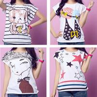 The new summer 2014 fashion women's clothing loose thin women's short sleeve T-shirt G110