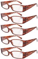 Eyekepper R040 Spring Hinge Plastic Reading Glasses (5 Pairs), Includes Sunglass Readers Stripe-5pcs  +1.00--+4.00