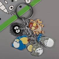 Retail 1pcs Anime Cartoon Miyazaki Hayao Totoro Keychains Metal Figures Pendants Key Chains 2Styles Free Shipping ANPD1488