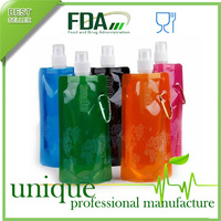 500PCS/CTN,Multicolor Flexible Collapsible Foldable Reusable Water Bottles Ice Bag FDA Approved BPA Free,FREE SHIPPING