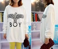 Women Tops Harajuku style sweatshirts london boy plus size pullovers Black white New Arrival