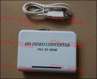 Free shipping 1PCS mini VGA to HDMI converter with audio for PC laptop to HDTV Projector in retail package