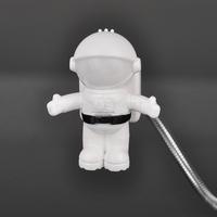 NEW 2014 Creative Gift Novelty Mini Lovely Spaceman Astronaut USB Power Saving LED Night Light Lamp For Computer & Reading Black