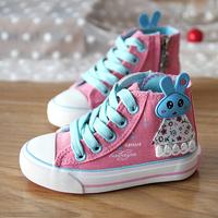 2014 child canvas shoes female child princess shoes single shoes rabbit high sport shoes skateboarding shoes