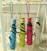 Mini Pencil Umbrella ultra-light mini vinyl sunscreen anti-uv fully-automatic folding black Coating umbrellas Free shipping