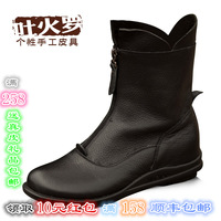 Genuine leather ankle boots casual cowhide female boots brief martin boots round toe wedges female boots