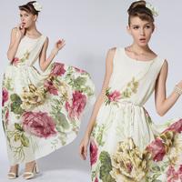 2014 summer chiffon dress peony o-neck chiffon one-piece dress with belt  flowers dresses