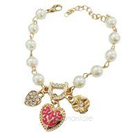 Women's Sweet Rhinestone Letter D Heart Flower Pendant Pearl Chain Bracelet Cuff Bangle Hand Chain ZMHM215#S2