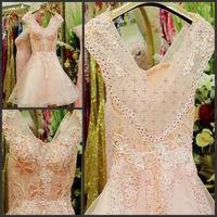 Elegant Backless A-line Knee-length Short Crystal Flower Vestido Bridesmaid Prom Graduation Formal Party Dress(XNE-ED111)