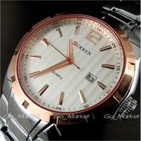 Curren fashion calendar stainless steel Gold case Men Man's precision Business watch Dropship,Brand Relogio